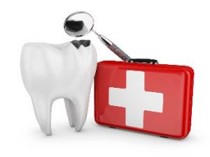 Tooth next to an emergency kit